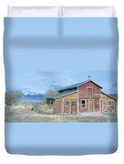 Red Barn, Route 50, Nevada Duvet Cover