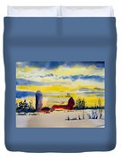 Red Barn Sunrise Duvet Cover