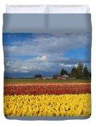 Red Barn Tulip Farm Duvet Cover