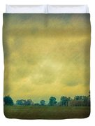 Red Barn Under Stormy Skies Duvet Cover