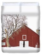 Red Barn Winter Country Landscape Duvet Cover by James BO  Insogna