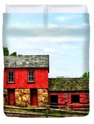 Red Barn With Fence Duvet Cover