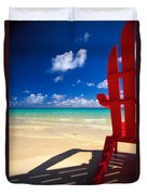 Red Beach Chair Duvet Cover