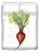 Red Beet Watercolor Duvet Cover