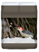 Red-bellied Woodpecker In The Snow Duvet Cover
