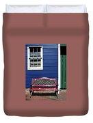 Red Bench Blue House Duvet Cover