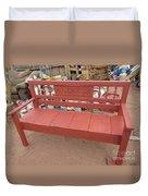 Red Bench Duvet Cover