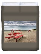 Red Bench On A Beach Duvet Cover