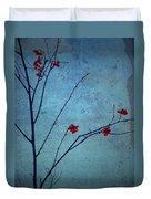Red Berries Blue Sky Duvet Cover