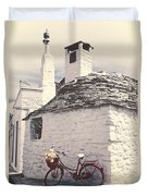 Red Bicycle Duvet Cover