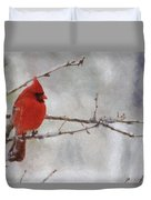 Red Bird Of Winter Duvet Cover by Jeff Kolker