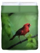 Red Bird On A Hot Day Duvet Cover