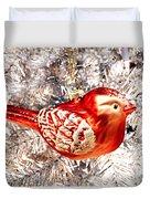 Red Bird White Tree Duvet Cover