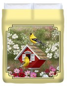 Red Birdhouse And Goldfinches Duvet Cover by Crista Forest
