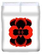 Red Black Botanical Summer Duvet Cover