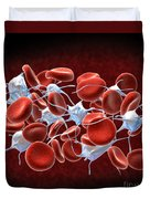 Red Blood Cells With Leukocytes Duvet Cover