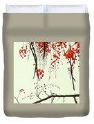 Red Blossom Tree On Handmade Paper Duvet Cover