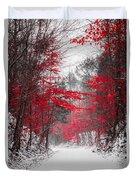 Red Blossoms  Duvet Cover