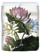 Red, Blue, And White Lotus Flowers Duvet Cover
