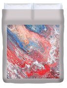 Red Blue White Abstract Duvet Cover
