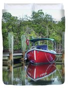 Red Boat Docked Florida Duvet Cover