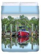 Red Boat Docked Florida Duvet Cover