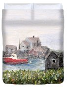 Red Boat In Peggys Cove Nova Scotia  Duvet Cover