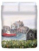 Red Boat In Peggys Cove Nova Scotia  Duvet Cover