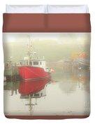 Red Boat In The Fog Duvet Cover