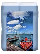 Red Boats At Blue Pier Duvet Cover