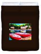 Red Boats At The Lake Duvet Cover