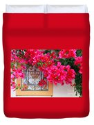 Red Bougainvilleas Duvet Cover