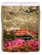 Red Bridge And Blossoms Duvet Cover