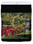 Red Bridge & Japanese Lantern, Autumn Duvet Cover by The Irish Image Collection