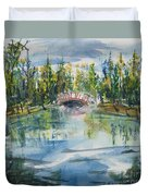 Red Bridge On Lake In The Ozarks Duvet Cover