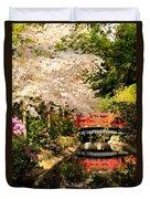 Red Bridge Reflection Duvet Cover