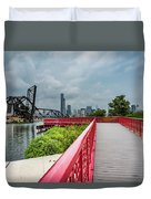 Red Bridge To Chicago Duvet Cover
