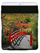 Red Bridge With Shadows Duvet Cover