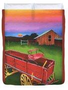 Red Buckboard Wagon Duvet Cover