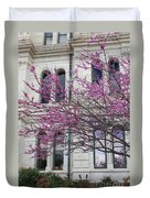 Red Buds And San Antonio City Hall Duvet Cover
