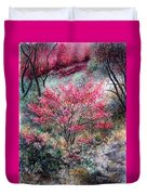 Red Bush Duvet Cover