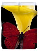 Red Butterfly And Calla Lily Duvet Cover