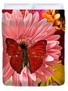 Red Butterfly On Bunch Of Flowers Duvet Cover