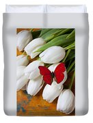 Red Butterfly On White Tulips Duvet Cover by Garry Gay