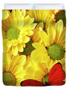 Red Butterfly On Yellow Mums Duvet Cover