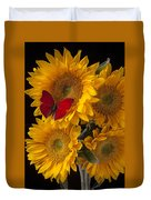 Red Butterfly With Four Sunflowers Duvet Cover