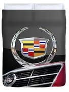 Red Cadillac C T S - Front Grill Ornament And 3d Badge On Black Duvet Cover by Serge Averbukh