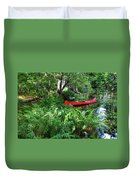 Red Canoe In The Adk Duvet Cover
