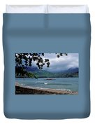 Red Canoe On Hanalei Bay Duvet Cover by Kathy Yates