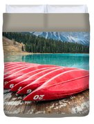 Red Canoes Of Emerald Lake Duvet Cover